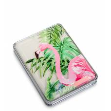 Зеркало прямоугольное с плавающими блестками ''Розовый фламинго''  WW-111/4