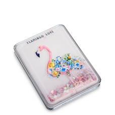Зеркало прямоугольное с плавающими блестками ''Розовый фламинго''  WW-111/5