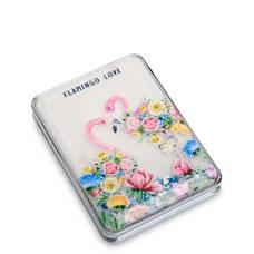 Зеркало прямоугольное с плавающими блестками ''Розовый фламинго''  WW-111/6