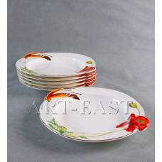 "ALF 55-006 Набор из 6-ти тарелок ""Маки"" 25,5*23,3*3,5см"