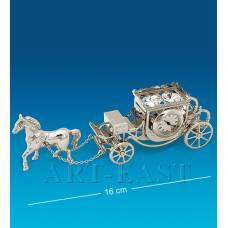 "AR-1309/ 2 Фигурка с часами ""Карета с лошадью"" посеребр. (Юнион)"