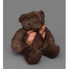Мягкая игрушка медведь с бантиком 25132 - т.коричневый 46см