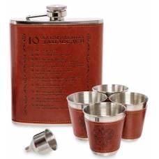 Фляжка со стопками ''10 алкогольных заповедей''  GT-13 Подарочный набор