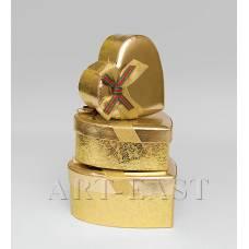 """WC-18 Набор коробок из 3шт """"Сердце золотое"""""""