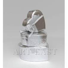 """WC-22 Набор коробок из 3шт """"Сердце серебряное"""""""