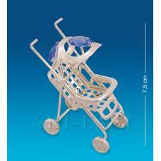 """AR-1323/ 1 Фигурка """"Детская коляска"""" посеребр. с цв.кр. (Юнион)"""